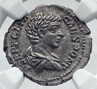 GETA as Caesar Authentic Ancient 203AD SIlver Roman Coin FELICITAS NGC i81164
