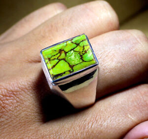 Green Turquoise Gemstone Solid 925 Sterling Silver Anniversary Mens Ring Jewelry