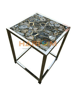 "18"" Black Agate Stone Coffee Table Top With 18"" Steel Stand Kitchen Decors A092"
