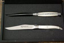 2 Steakmesser Tafelmesser Laguiole en Aubrac Rinderbein weiß Knochen