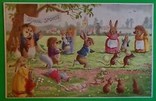 Egg/Spoon Race-Sports-Artist Racey Helps-Vintage Humanized Rabbits Owl Postcard
