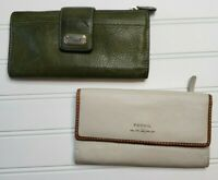 Lot of 2 FOSSIL Leather Wallets Both 7.5 x 4 (1) Bifold Green (1) Trifold Cream