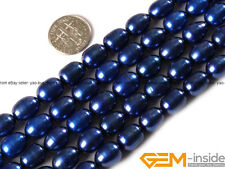 """9-10x10-12mm Cultured Freshwater Pearl Olivary Rice Beads 15""""White Black Pink"""