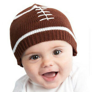 Touchdown Baby Boy Knit Hat - Football Beanie in Brown with laces