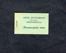 1960 Hotel Wittelsback Ticket Book - Oberammergau Passion Play (No Tickets)