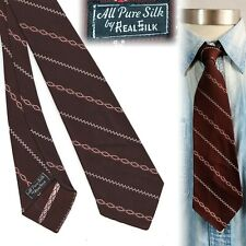 1930s RealSilk Striped Brown Vintage Necktie Art Deco Swing Tie