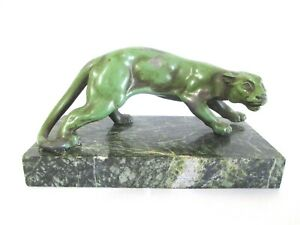 1930 French Art Deco Patinated Metal Panther Sculpture on Marble Base.