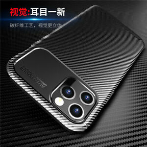 Carbon Fiber Shockproof Slim Thin Leather Case Cover For iPhone 11 12 Pro Max