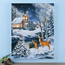 LED Lighted Wintery Church Christmas Scene Home Canvas Wall Art