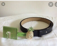 $68 Kate Spade pineapple   black  leather belt size large B1