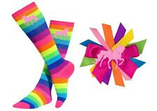 Bubblegum Divas Girls Rainbow Knee High Socks Kids 4-6 Pink Unicorn Gift Set