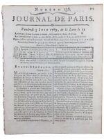 Etats Généraux Juin 1789 Tiers État Clergé Rare Journal de Paris Révolution