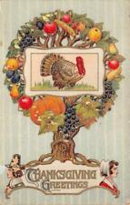 THANKSGIVING HOLIDAY TURKEY PUMPKIN FOOD GEL-COATED POSTCARD 1917 131