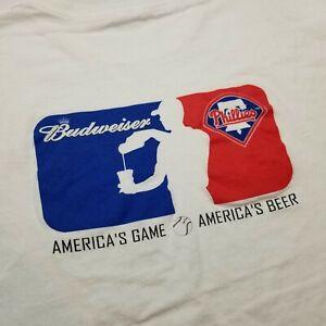Budweiser MLB Philadelphia Phillies T-Shirt Mens XL America's Game Beer White @8