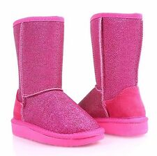 Fuchsia Slip On Only Blink Kids Girls Boots Faux Fur Interior Youth Size 13