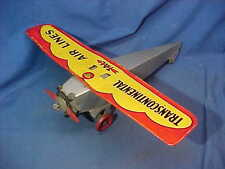 1930s GIRARD Marx TIN Litho TRANSCONTINENTAL AIR LINES Toy AIRPLANE