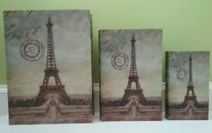 Set of 3 Nesting Book Boxes/Keepsake Boxes ~ Paris France Italy European Theme