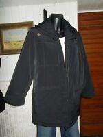 Veste parka manteau 3/4 polyester noir surpiqué poches zip doré 44/46