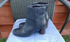 WORN ONCE LADIES BLACK SOFT QUALITY LEATHER ANKLE BOOTS BY M&S INSOLIA 6.5