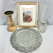 4pc Home Decor Bundle Jar Red White Picture Candle Stand Silvertone Tray