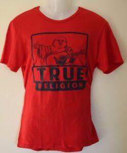 Genuine True Religion Size M World Tour Buddha Guitar Red T Shirt EUC SALE