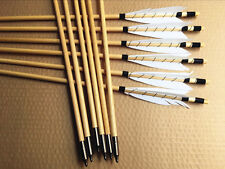 12PK White Medieval Cedar wood Arrows Shield feather forTarget Practice28-33inch