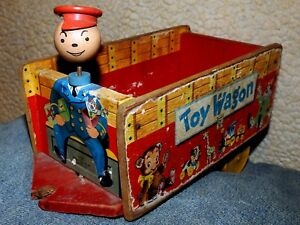 RARE 1950's FISHER-PRICE 131 Wooden TOY WAGON Without Drivers