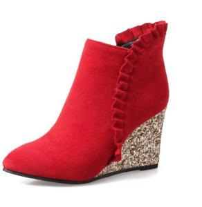 Women High Wedge Heel Pointed Toe Zipper Ruffle Autumn Ankel Pump Party Boots