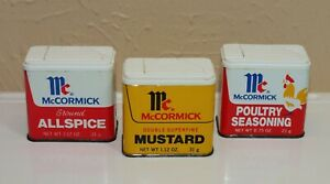 Vintage Metal SPICE TINS Lot of 3 McCormick * Allspice Mustard Poultry Seasoning