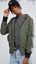 ASOS Hooded Bomber Jacket In Khaki. Green. Men's Coat. Small.