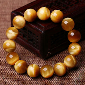 100% Natural AAA+ Gemstone Tigers Eye Stone Beads Woman Man Bracelet 7.5 Inch