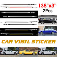 2pcs Car Racing Body Side Sticker Graphics Long Strip Pinstripe Vinyl Decals