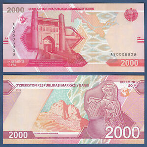 USBEKISTAN / UZBEKISTAN  2000 Sum 2021 UNC  P. NEW