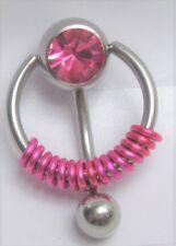 Clitoral Clit Hood Ring 14 gauge Pink Pressure Gem Ball Fuchsia Coiled Vch