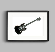 Angus Young's Gibson SG POSTER PRINT A1 size