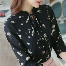 Elegant Womens Floral Print Chiffon Long Sleeve Shirt Tops Ladies Blouses Korean
