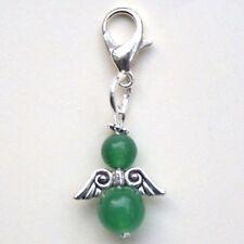 Clip On Gemstone Angel Charm Green Jade Prosperity Good Luck Bag Charm  LB262