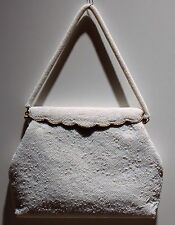 VINTAGE 1966 WHITE BEADED HANDBAG Hong Kong Elegant Wedding Chinese Evening Seed