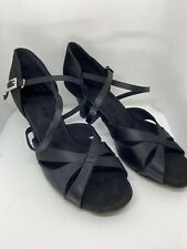"Women's Black Satin 8.5 Latin Dance Shoes 3"" Heel"