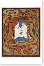 Peter Behrens 1898 Der Kuss The Kiss Retro Art Nouveau Lesbian Interest Poster