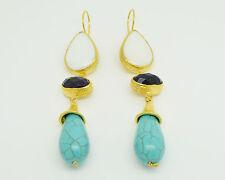Ottoman semi precious gem stone gold plated earrings Pearl amethyst turquoise