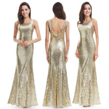 Ever-Pretty US Long Gold Sequin Celebrity Prom Gowns Formal Evening Party Dress
