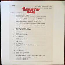 LITTLE RICHARD CHUCK BERRY Radio Show ROYALTY OF ROCK LP '83 NM w/cue sheet