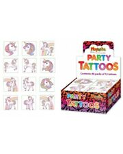 TEMPORARY UNICORN TATTOOS PACK OF 12  BUY 3 PACKS & WE WILL SEND 4! PINK DESIGN