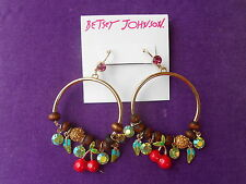 Betsey Johnson Authentic NWT Gold-Tone Multi-Crystal Fruit Gypsy Hoop Earrings