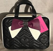Betsey Johnson Black, White & Grape Chevron & Heart Pattern With Bow Cosmetic Ca