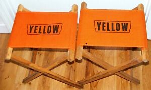 Vtg Pair 1960s YELLOW TRUCKING COMPANY Folding Camping Gear Chairs Wood & Canvas