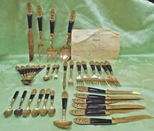 Teak Wood and Brass Buddha Flatware with Serving Pieces 1960