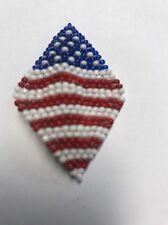 Jewelry Patriotic Lapel USA Pin Glass Beads Handmade