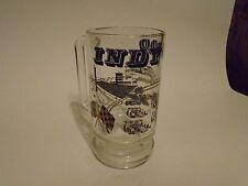 Vintage INDIANAPOLIS 500 Glass Mug w/ Gold Leaf